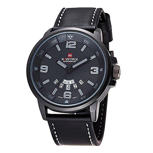 NAVIFORCE Herren Quarz Sport Luxus Armbanduhr Datum Tag Militaer Schwarz