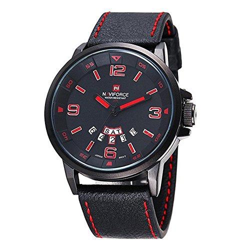 NAVIFORCE Herren Quarz Sport Luxus Armbanduhr Datum Tag Militaer Schwarz Rot