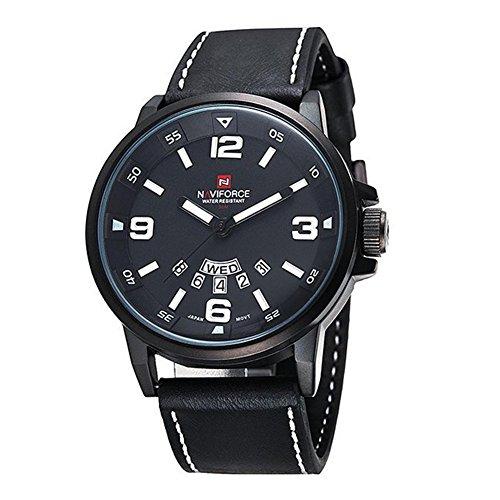 Herrenuhr NAVIFORCE Herren Quarz Sport Luxus Armbanduhr Datum Tag Militaer Schwarz Weiss