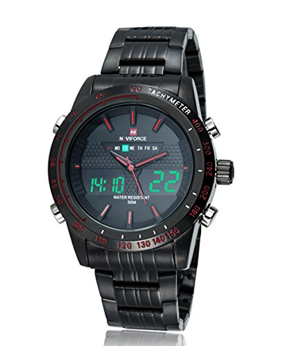 naviforce Herren Sport Analog Digital Edelstahl LED Armbanduhr Kalender stopwatch red