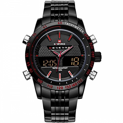 Shining Watch naviforce Edelstahl Sportuhr Digital LED Militaer Stil Quarz Uhrwerk Schwarz Rot