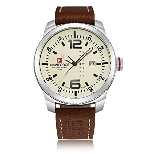 naviforce Herren Business Casual Stil einzigartige Kalender Woche Display High End Quarz Handgelenk watch white
