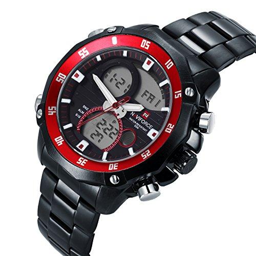 neotrix naviforce Luxus Edelstahl Quarz Dual Time Datum anzeigt LED Wasserdicht Military Watch Extreme Sports 30 m Wasser Widerstand Schwarz und Rot