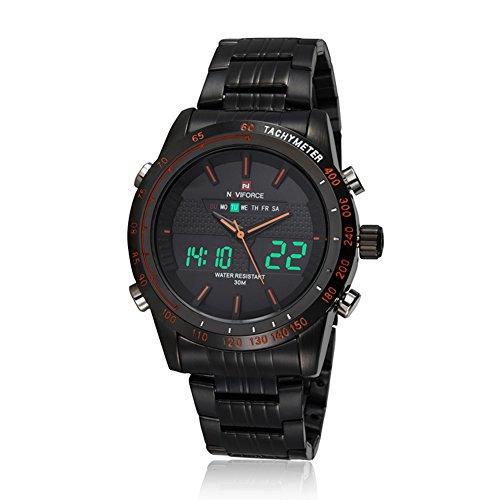 neotrix Luxus naviforce Edelstahl Dual Time LED Military Wasserdicht Extreme Sports 30 m Wasser Widerstand Uhren Schwarz und Orange