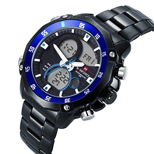 neotrix naviforce Luxus Edelstahl Quarz Dual Time Datum anzeigt LED Wasserdicht Military Watch Extreme Sports 30 m Wasser Widerstand Schwarz und Blau