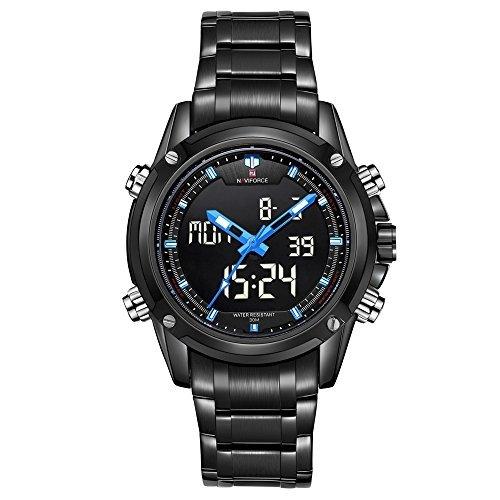 naviforce Herren Sport Edelstahl LED grosse Kalender Dual Time Quarz Digital watch black Blau