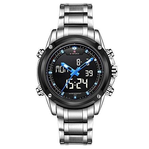 naviforce Herren Sport Edelstahl LED grosse Kalender Dual Time Quarz Digital watch white Blau