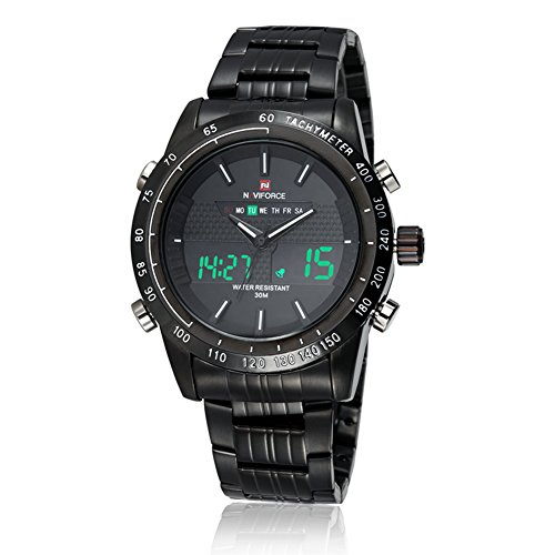 neotrix Luxus naviforce Edelstahl Analog und Digital LED 30 M Wasserdicht Military Armbanduhr Extreme Sports Schwarz
