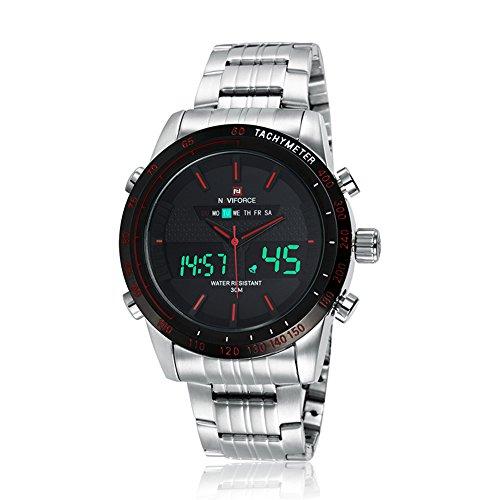 naviforce Herren Fashion Analog Digital Edelstahl Armbanduhr mit muti functions Silber Rot