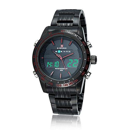 Naviforce mit vielen Funktionen Analog und Digital Anzeige Edelstahl Armband Rot
