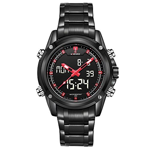 naviforce Herren Sport Edelstahl Grosse LED Dual Time Analog Digital watch black Rot