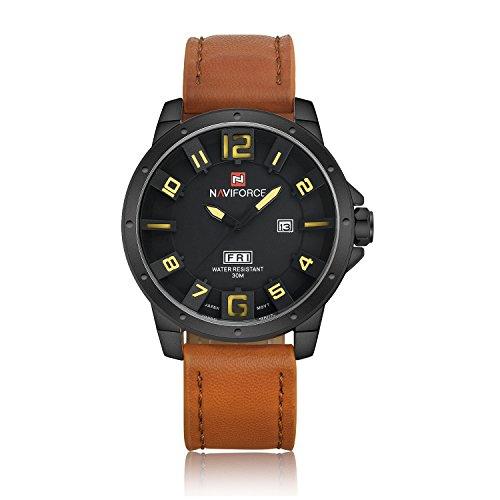naviforce echtes Lederband Herren Luxus Uhr Tagesanzeige Analog Quarz Wasserdichte Sport Armbanduhr braun