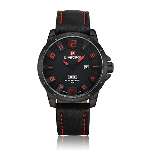 neotrix naviforce Military Analog Quarz Lederband 30 m wasserdicht Sport Armbanduhr rot