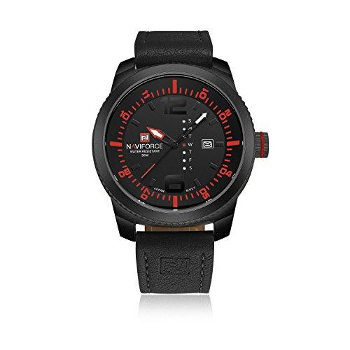 naviforce Original Lederband Herren Classic Auto Tag Analog Quarz Wasserdicht Sport Watch schwarz rot