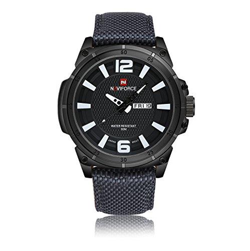 NAVIFORCE Herren Sport Uhren Herren Quarz Stunden Datum Uhr Man Nylon Gurt Militaer Armee Wasserdicht Armbanduhr lila