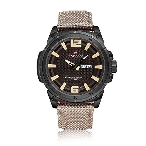 naviforce Herren Sport Uhren Herren Quarz Stunden Datum Uhr Man Nylon Gurt Militaer Armee Wasserdicht Armbanduhr beige