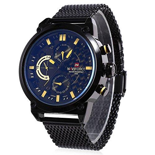 Leopard Shop naviforce nf9068 m Stecker Quarzuhr Tag Datum Display Wasser Widerstand Edelstahl Mesh Band Armbanduhr Gelb