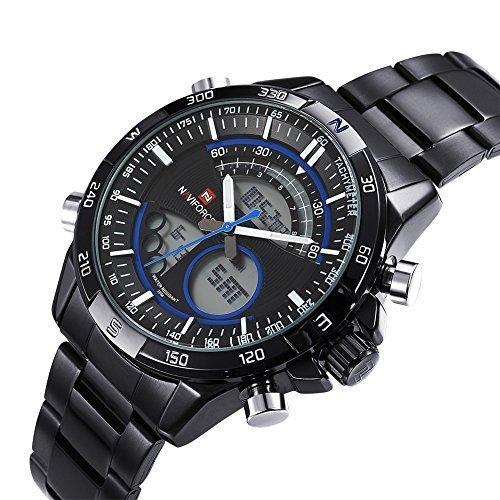 naviforce schwarze analoge digitalanzeige mens kleid uhr mit uv licht und kalender 371805 gef hrt