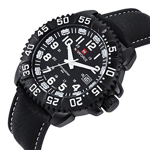 naviforce schwarze sport kleid m nner day date auf kalender und drehbaren kompass 371602