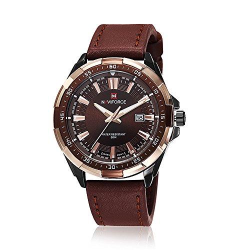 naviforce New Herren Quarz Stunden Datum Uhr Herren Casual Sports Uhren Herren Leder Handgelenk Military Armbanduhr Gold Braun