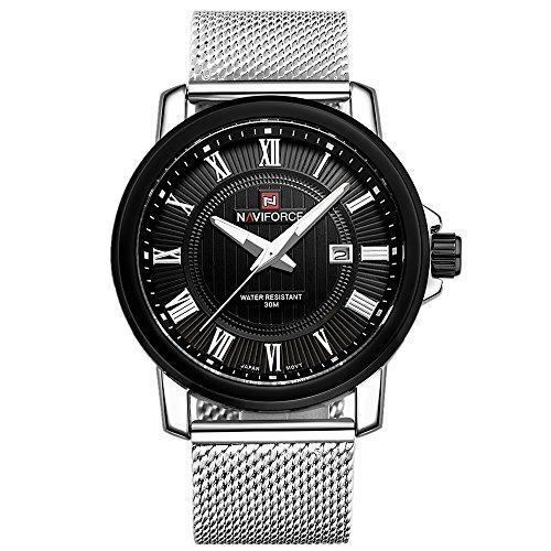 Neotrix Luxus NAVIFORCE Edelstahl Quarz Militaermens Uhr 30M Wasserbestaendigkeit Armbanduhr Schwarz und Silber Brief