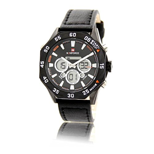 Schoene Armbanduhr Trend Leder schwarz naviforce 1736