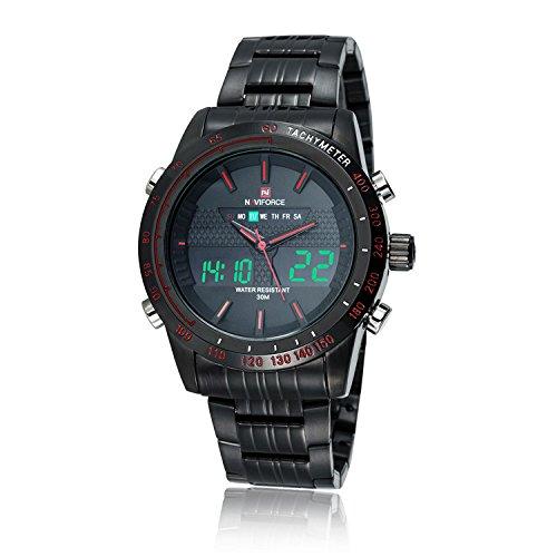Wasserdicht Uhr NAVIFORCE Luxus 3ATM Wasserdicht Silber Edelstahl Band Maenner Uhr Schwarz Schwarz Rot