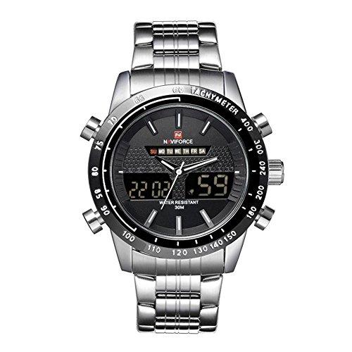Wasserdicht Uhr NAVIFORCE Luxus 3ATM Wasserdicht Silber Edelstahl Band Mann Uhr Silber Schwarz Weiss