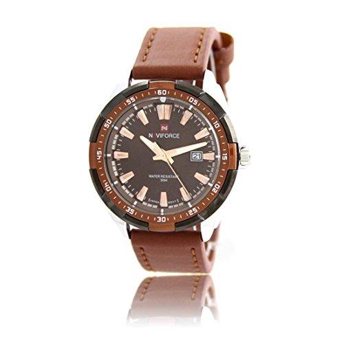 Zeigt Herren Armband Leder Schokolade naviforce 1355