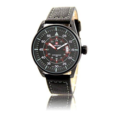 Zeigt Herren Armband Leder schwarz naviforce 1098