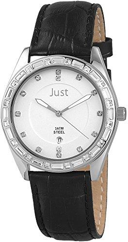 Just Watches Analog Quarz Leder 48 S8262A SL BK