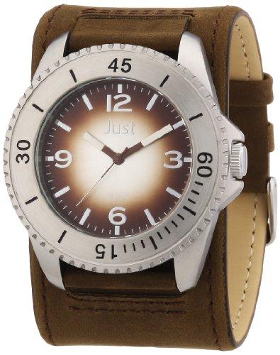 Just Watches Herren Armbanduhr XL Analog Leder 48 S2812SL BR