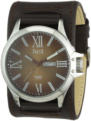 Just Watches Herren Armbanduhr XL Analog Leder 48 S2872 BR