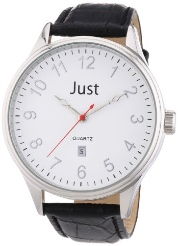 Just Watches Herren Armbanduhr XL Analog Leder 48 S3879 WH