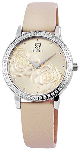 Pierrini Damen Analog Echtleder Armbanduhr in beige Echtlederband 34 mm 192224000001