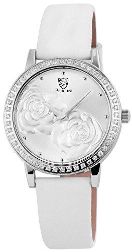 Pierrini Damen Analog Echtleder Armbanduhr in weiss Echtlederband 34 mm 192222500001