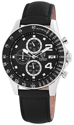 Pierrini Echtleder Armbanduhr in schwarz Stoppfunktion Datumsanzeige 24 Std Anzeige 48 mm 291121000001