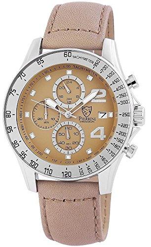 Pierrini Echtleder Armbanduhr in beige Stoppfunktion Datumsanzeige 24 Std Anzeige 48 mm 291127500001