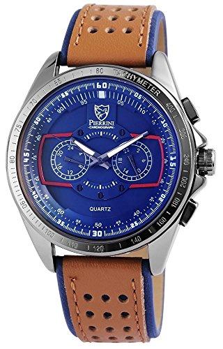 Pierrini Herren Chronograph Armbanduhr blaues Zifferblatt 24 Std Anzeige Stoppfunktion 50 mm 291173000003