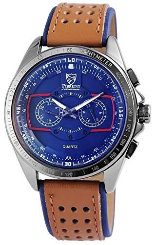 Pierrini Armbanduhr blaues Zifferblatt 24 Std Anzeige Stoppfunktion 50 mm 291173000003