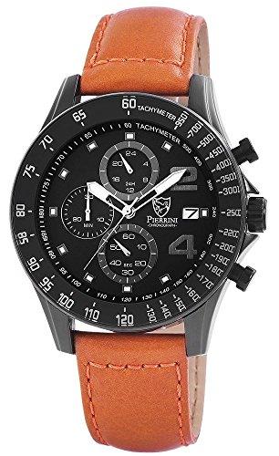Pierrini Echtleder Armbanduhr in braun schwarz Stoppfunktion Datumsanzeige 24 Std Anzeige 48 mm 291171000001