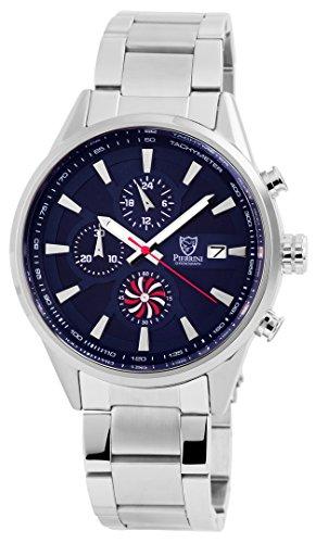 Pierrini Chronograph aus Edelstahl 46 mm Gehaeuse in Silber Zifferblatt in Blau Datumsanzeige Wochentagsanzeige Stoppfunktion 291023000006