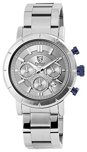 Pierrini mit Edelstahl Armband Stoppuhr 24 Stundenanzeige 45 mm Silber Anthrazit 291021600004