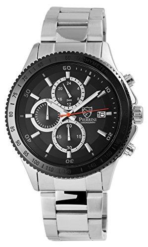 Pierrini mit Armband aus Edelstahl Sicherheitsfaltschliesse und Zifferblatt in Schwarz 291021000011