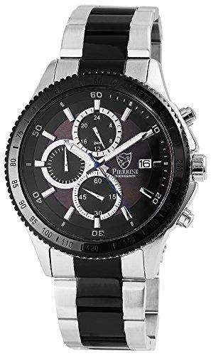 Pierrini mit Armband aus Edelstahl Sicherheitsfaltschliesse und Zifferblatt in Schwarz 291021500011