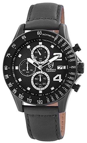 Pierrini Echtleder Armbanduhr in grau schwarz Stoppfunktion Datumsanzeige 24 Std Anzeige 48 mm 291171500001