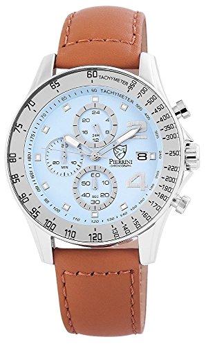 Pierrini Echtleder Armbanduhr in hellbraun hellblau Stoppfunktion Datumsanzeige 24 Std Anzeige 48 mm 291123000001