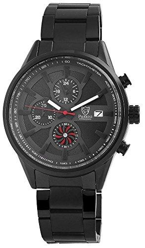 Pierrini Armbanduhr Stoppfunktion 24 Std Anzeige Datumsanzeige Quarzwerk schwarzes Edelstahlgehaeuse und Zifferblatt in anthrazit 47 mm 291071000006