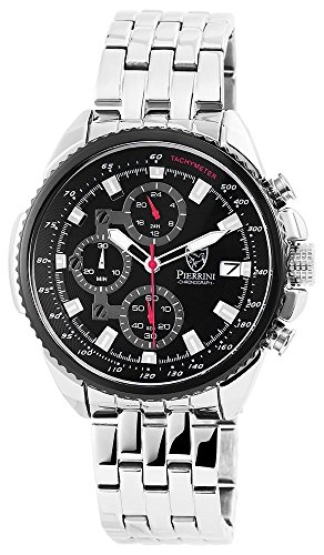 Pierrini Armbanduhr Stoppfunktion 24 Std Anzeige Datumsanzeige Quarzwerk silbernes Edelstahlgehaeuse und Zifferblatt in schwarz 45 mm 291021000002