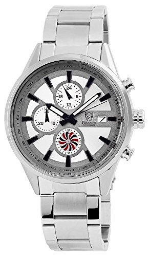 Pierrini Armbanduhr Stoppfunktion 24 Std Anzeige Datumsanzeige Quarzwerk Silbernes Edelstahlgehaeuse und Zifferblatt in silber 47 mm 291021500006